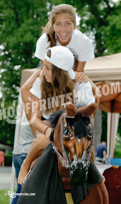 Gruwell and Epley in the PDHF (Permanently Disabled Jockeys Fund) booth at Delaware Park on 7/2614