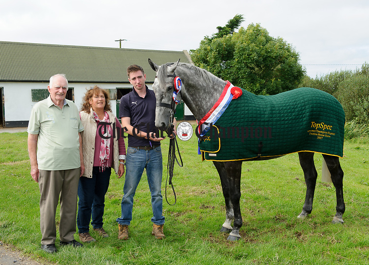 """Mossy"" the Dublin Horse Show supreme hunter champion and heavyweight champion, pictured with breeder Tim Kelly, Fortview, Cree, owner Trudi Deja, Dromellihy, Cree and Patrick Downes, son of the late Paddy Downes, Dromellihy. Photograph by John Kelly."