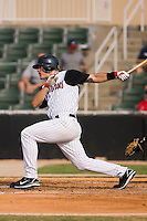 Designated hitter Nick Mahin (22) of the Kannapolis Intimidators follows through on his swing at Fieldcrest Cannon Stadium in Kannapolis, NC, Sunday July 20, 2008. (Photo by Brian Westerholt / Four Seam Images)