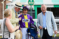 Connections of Ashazuri congratulate jockey Pierre-Louis Jaminafter winning The Shadwell Stud Racing Excellence Apprentice Handicap, during Father's Day Racing at Salisbury Racecourse on 18th June 2017