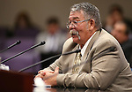 Nevada Sen. Pete Goicoechea, R-Eureka, testifies in committee at the Legislative Building in Carson City, Nev., on Friday, April 24, 2015. <br /> Photo by Cathleen Allison