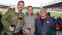 Bolton Wanderers fans pose for a picture before the match<br /> <br /> Photographer Alex Dodd/CameraSport<br /> <br /> The EFL Sky Bet Championship - Brentford v Bolton Wanderers - Saturday 13th January 2018 - Griffin Park - Brentford<br /> <br /> World Copyright &copy; 2018 CameraSport. All rights reserved. 43 Linden Ave. Countesthorpe. Leicester. England. LE8 5PG - Tel: +44 (0) 116 277 4147 - admin@camerasport.com - www.camerasport.com