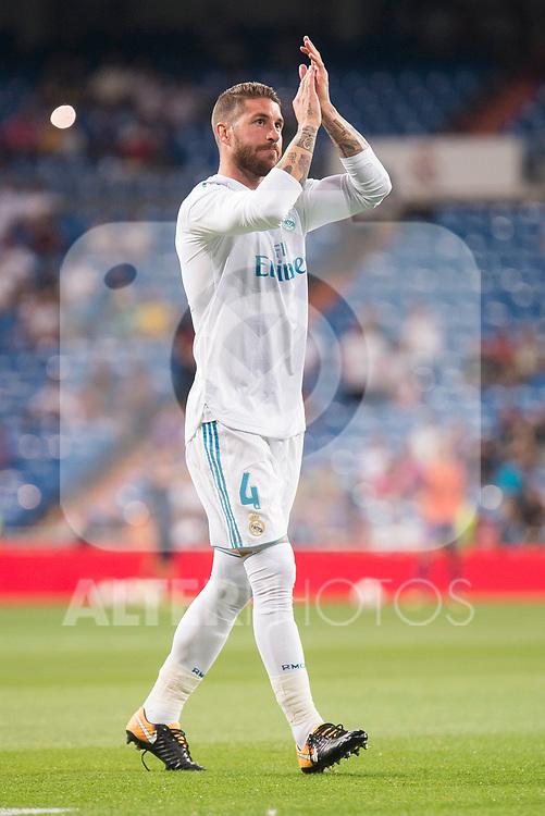 Real Madrid's Sergio Ramos during XXXVIII Santiago Bernabeu Trophy at Santiago Bernabeu Stadium in Madrid, Spain August 23, 2017. (ALTERPHOTOS/Borja B.Hojas)