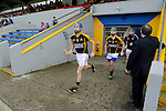 Stan Lineen of Ballyea leads out his team for the county final replay against Clonlara at Cusack  Park. Photograph by John Kelly.