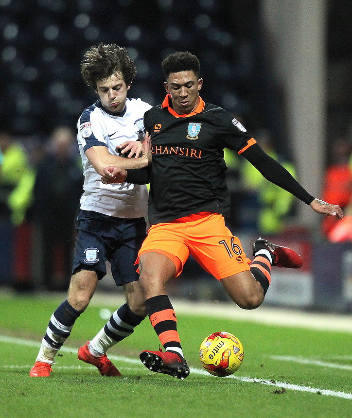 Preston North End's Ben Pearson battles with  Sheffield Wednesday's Liam Palmer<br /> <br /> Photographer Mick Walker/CameraSport<br /> <br /> The EFL Sky Bet Championship - Preston North End v Sheffield Wednesday - Saturday 31st December 2016 - Deepdale - Preston<br /> <br /> World Copyright &copy; 2016 CameraSport. All rights reserved. 43 Linden Ave. Countesthorpe. Leicester. England. LE8 5PG - Tel: +44 (0) 116 277 4147 - admin@camerasport.com - www.camerasport.com