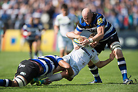 Alex Goode of Saracens is double-tackled. Aviva Premiership match, between Bath Rugby and Saracens on September 9, 2017 at the Recreation Ground in Bath, England. Photo by: Patrick Khachfe / Onside Images