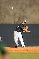 Charlotte 49ers third baseman Brad Elwood (2) makes a throw to first base against the Canisius Golden Griffins at Hayes Stadium on February 23, 2014 in Charlotte, North Carolina.  The Golden Griffins defeated the 49ers 10-1.  (Brian Westerholt/Four Seam Images)