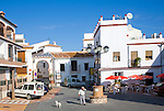 Village square in the hilltop Andalusian settlement of Comares, Malaga province, Spain