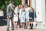 King Felipe VI of Spain, Queen Sofia, Princess Sofia of Spain, Princess Leonor of Spain and Queen Letizia of Spain arrives to the First Communion of princess Sofia at Asuncion de Nuestra Senora Church in Madrid, May 17, 2017. Spain.<br /> (ALTERPHOTOS/BorjaB.Hojas)
