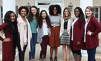 NWA Democrat-Gazette/CARIN SCHOPPMEYER Ivory Stevenson (from left), Ann Toneya Hill, Chloe Baldwin, Maria Nessim, Charity Walker, Jen Tuohy, Juliet Moses and Emily Bass, of Dream B.I.G. Brave Girl Initiative gather at the UA Women's Giving Circle voting event where the circle awarded their project a grant for $7,500.