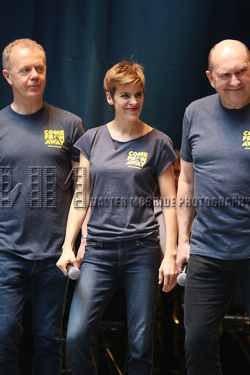 Jenn Colella and the cast of 'Come From Awat' on stage at United Airlines Presents #StarsInTheAlley free outdoor concert in Shubert Alley on 6/2/2017 in New York City.