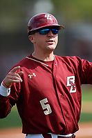 Boston College Eagles head coach Mike Gambino (5) talks with his team during a game against the Minnesota Golden Gophers on February 23, 2018 at North Charlotte Regional Park in Port Charlotte, Florida.  Minnesota defeated Boston College 14-1.  (Mike Janes/Four Seam Images)