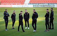 Blackpool players chat after stepping of the coach inside the Keepmoat Stadium<br /> <br /> Photographer Alex Dodd/CameraSport<br /> <br /> The EFL Sky Bet League One - Doncaster Rovers v Blackpool - Tuesday September 17th 2019 - Keepmoat Stadium - Doncaster<br /> <br /> World Copyright © 2019 CameraSport. All rights reserved. 43 Linden Ave. Countesthorpe. Leicester. England. LE8 5PG - Tel: +44 (0) 116 277 4147 - admin@camerasport.com - www.camerasport.com