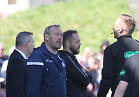 Queen of the South Assistant Manager Sandy Clark asking questions of 4th Official Steven Kirkland in the SPFL Ladbrokes Championship Play Off semi final match between Queen of the South and Montrose at Palmerston Park, Dumfries on  11.5.19.