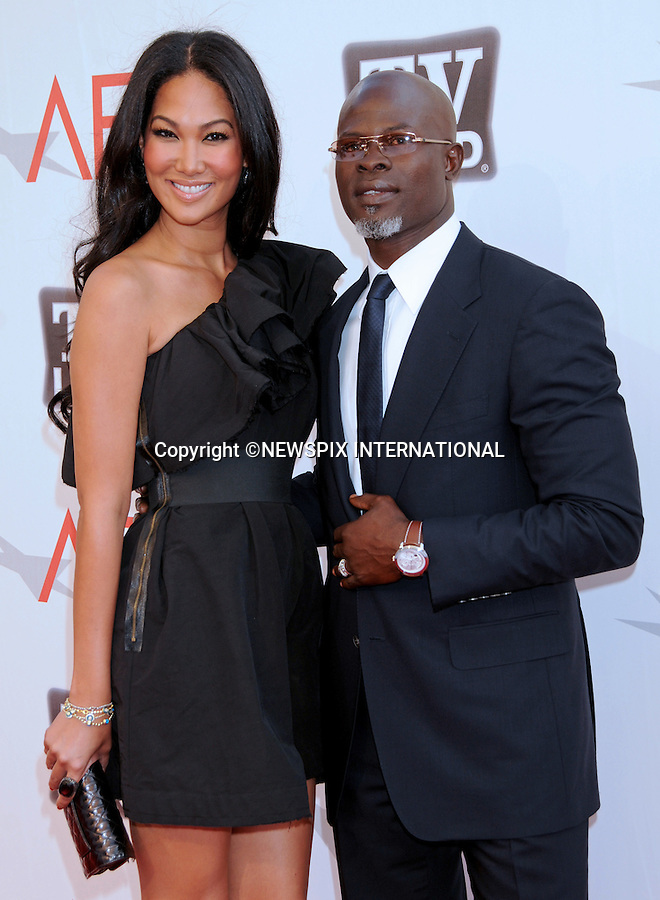 """DJIMON HOUNSOU AND KIMORA SIMMONS.attends TV Land Presents: The AFI Life Achievement Awards Honoring Morgan Freeman at Sony Pictures Studios, Culver City, California_9 June 2011.Mandatory Photo Credit: ©Crosby/Newspix International. .**ALL FEES PAYABLE TO: """"NEWSPIX INTERNATIONAL""""**..PHOTO CREDIT MANDATORY!!: NEWSPIX INTERNATIONAL(Failure to credit will incur a surcharge of 100% of reproduction fees)..IMMEDIATE CONFIRMATION OF USAGE REQUIRED:.Newspix International, 31 Chinnery Hill, Bishop's Stortford, ENGLAND CM23 3PS.Tel:+441279 324672  ; Fax: +441279656877.Mobile:  0777568 1153.e-mail: info@newspixinternational.co.uk"""