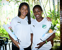 CALI-COLOMBIA,10-07-2019.Maria Rodallega Carmen Rodallega Julio durante presentacion del equipo femenino del Deportivo Cali./ Maria Rodallega and Carmen Rodallega Juilo during<br /> presentation of the women's team of Deportivo Cali. Photo: VizzorImage/ Nelson Rios / Contribuidor