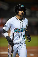 Salt River Rafters Victor Victor Mesa (10), of the Miami Marlins organization, jogs toward the dugout after scoring a run during an Arizona Fall League game against the Naranjeros de Hermosillo on September 24, 2019 at Salt River Fields at Talking Stick in Phoenix, Arizona. Salt River defeated Hermosillo 4-1. The Naranjeros, of the Mexican Pacific League, played in Scottsdale as part of the Mexican baseball Fiesta. (Zachary Lucy/Four Seam Images)