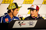 Press conference on the Sachenring circuit of the riders Valentino Rossi and Marc Marquez prior to grand prize. Germany. 10/07/2014. Samuel de Roman / Photocall3000.