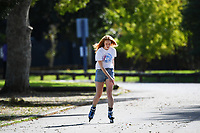 1st April 2020, Kohi Beach, Auckland, New Zealand;  Rollerblading in the warm weather during the lockdown due to Covid-19. Kohimarama, Auckland, New Zealand on Wednesday 1 April 2020.