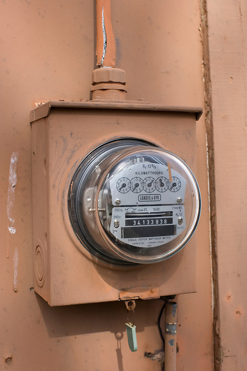An old Landis & Gyr electric meter showing the kilowatts hours of electricity used at a house in Belton, Missouri on February 2, 2008.