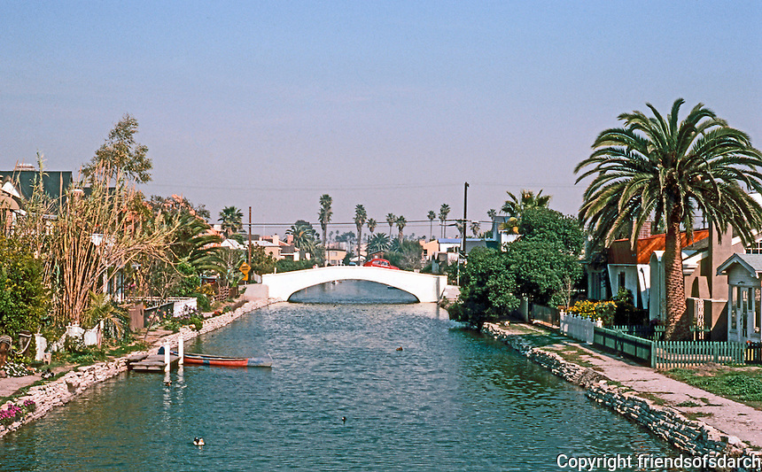 Venice CA:  A Canal--one of three.   Photo '82.