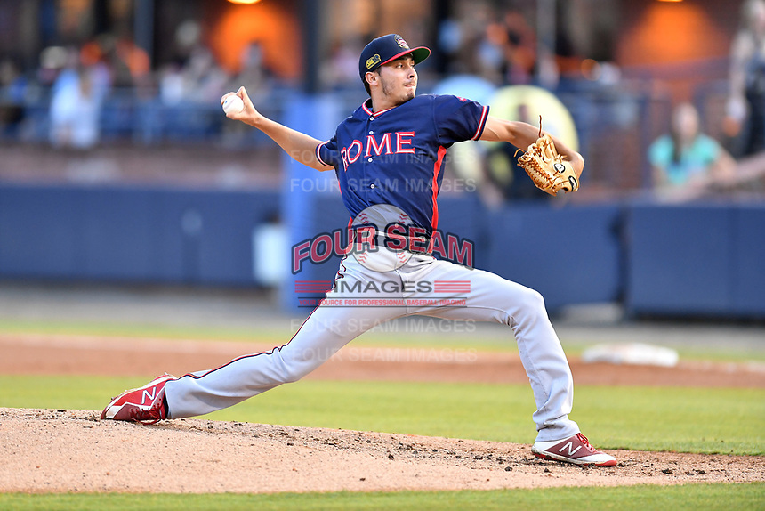 Rome Braves starting pitcher Alan Rangel (55) delivers a pitch during a game against the Asheville Tourists  at McCormick Field on July 19, 2019 in Asheville, North Carolina. The Braves defeated the Tourists 4-1. (Tony Farlow/Four Seam Images)