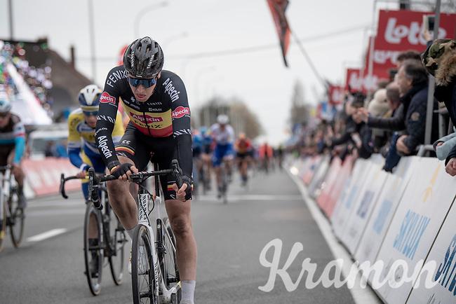 Belgian Champion Tim Merlier (BEL/Alpecin-Fenix) crossing the finish line<br /> <br /> 72nd Kuurne-Brussel-Kuurne 2020 (1.Pro)<br /> Kuurne to Kuurne (BEL): 201km<br /> <br /> ©kramon