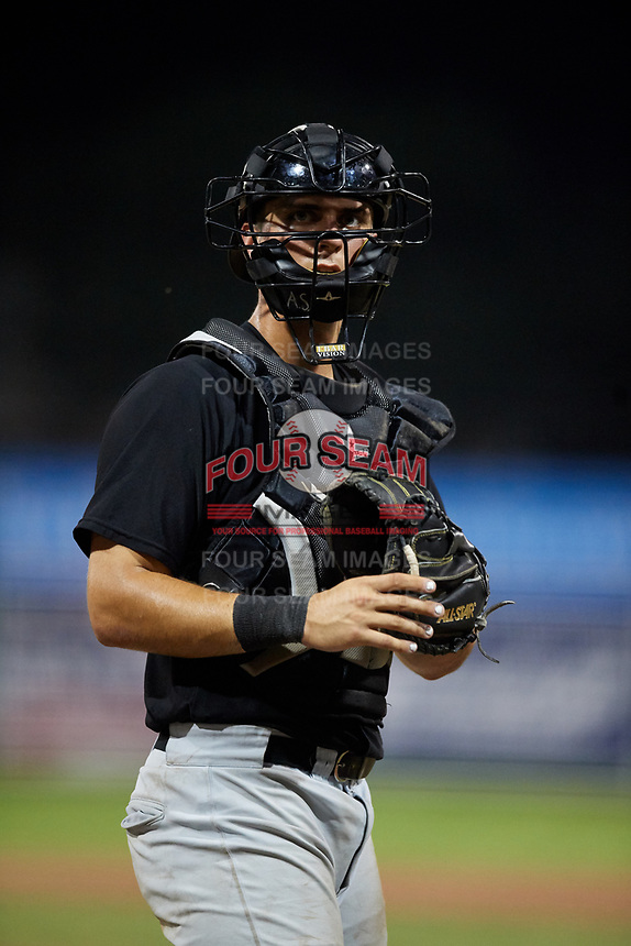West Virginia Black Bears catcher Zach Susi (3) during a game against the Batavia Muckdogs on July 2, 2018 at Dwyer Stadium in Batavia, New York.  West Virginia defeated Batavia 3-1.  (Mike Janes/Four Seam Images)