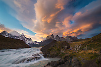 sunset at Torres del Paine, Patagonia, Chile