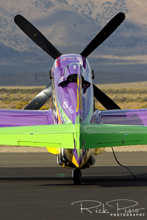"""P-51 Mustang Air Racer """"Voodoo"""" sits on the ramp at the 2013 Reno National Championship Air Races."""