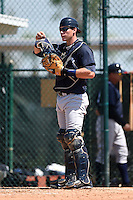 Catcher Pete O'Brien (43) of the New York Yankees organization during a minor league spring training game against the Pittsburgh Pirates on March 22, 2014 at Pirate City in Bradenton, Florida.  (Mike Janes/Four Seam Images)