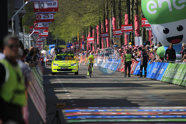 Pawel Poljanski (POL) Tinkoff approaches the finish line of Stage 1 of the 2016 Giro d'Italia, an individual time trial of 9.8km around Apeldoorn, The Nethrerlands. 6th May 2016.<br /> Picture: Eoin Clarke | Newsfile<br /> <br /> <br /> All photos usage must carry mandatory copyright credit (&copy; Newsfile | Eoin Clarke)