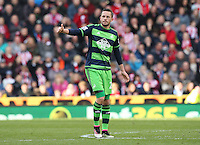 Swansea City's Gylfi Sigurdsson gives the thumbs up after his goal during the Barclays Premier League match between Stoke City and Swansea City played at Britannia Stadium, Stoke on April 2nd 2016