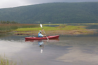 Kayaker in Salt Marsh; Cape Breton, South Harbour;