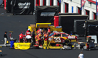 Apr 26, 2009; Talladega, AL, USA; NASCAR Sprint Cup Series driver Clint Bowyer sits in the garage for repairs after crashing during the Aarons 499 at Talladega Superspeedway. Mandatory Credit: Mark J. Rebilas-