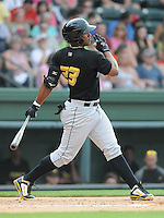 Outfielder Carlos Mesa (23) of the West Virginia Power, a Pittsburgh Pirates affiliate, in a game against the Greenville Drive on May 19, 2012, at Fluor Field at the West End in Greenville, South Carolina. Greenville won 7-3. (Tom Priddy/Four Seam Images)
