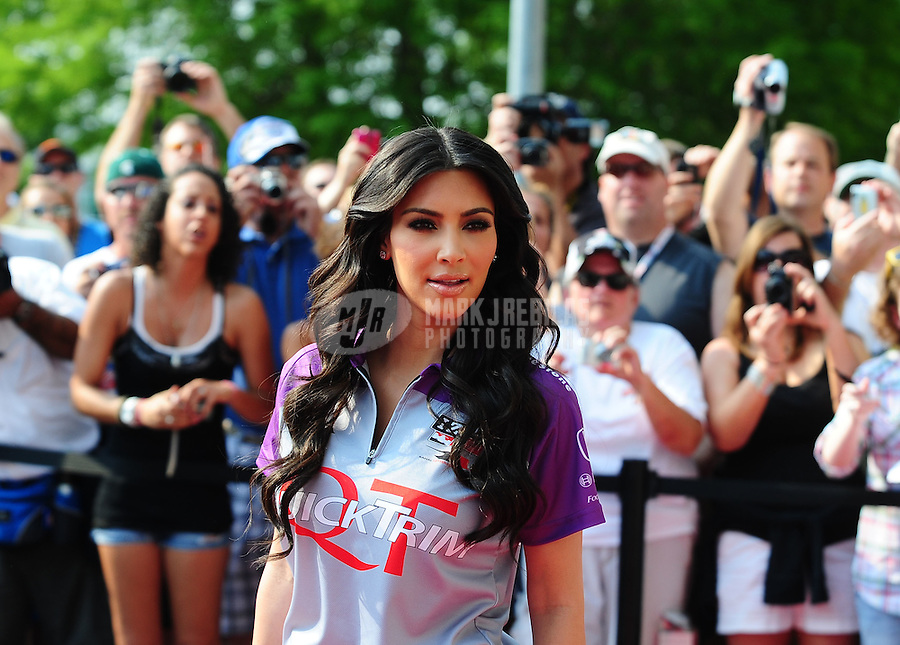 May 30, 2010; Indianapolis, IN, USA; Kim Kardashian walks the celebrity red carpet prior to the Indianapolis 500 at the Indianapolis Motor Speedway. Mandatory Credit: Mark J. Rebilas-