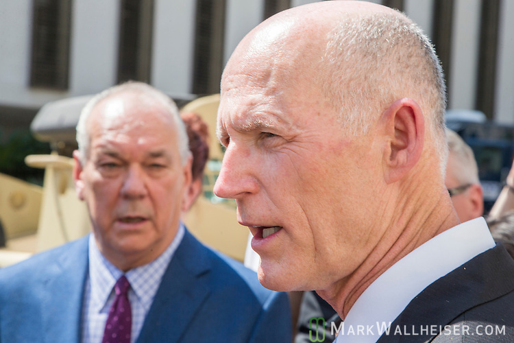"The Florida press corps question Florida Governor Rick Scott during the Florida Department of Military Affairs and the Florida National Guard sponsored ""Florida National Guard Day"" at the Capitol"
