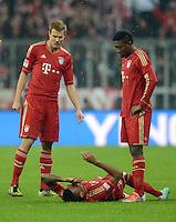 FUSSBALL   1. BUNDESLIGA  SAISON 2012/2013   9. Spieltag FC Bayern Muenchen - Bayer 04 Leverkusen    28.10.2012 Holger Badstuber , Luiz Gustavo und David Alaba (v. li., FC Bayern Muenchen)