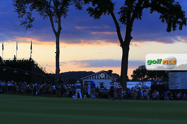 Sunset over the 9th green during Friday's Round 2 of the 2016 U.S. Open Championship held at Oakmont Country Club, Oakmont, Pittsburgh, Pennsylvania, United States of America. 17th June 2016.<br /> Picture: Eoin Clarke | Golffile<br /> <br /> <br /> All photos usage must carry mandatory copyright credit (&copy; Golffile | Eoin Clarke)