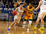 BROOKINGS, SD - JANUARY 22: Matthew Mims #1 of the South Dakota State Jackrabbits pushes the ball against Vinnie Shahid #0 of the North Dakota State Bison at Frost Arena on January 22, 2020 in Brookings, South Dakota. (Photo by Dave Eggen/Inertia)