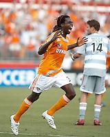 Houston Dynamo forward Joseph Ngwenya (33) celebrates his goal. Houston Dynamo beat FC Dallas 2-1 at Robertson Stadium in Houston, TX on June 3, 2007.