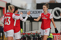 Vivianne Miedema of Arsenal scores the fourth goal for her team and celebrates during Arsenal Women vs Bristol City Women, Barclays FA Women's Super League Football at Meadow Park on 1st December 2019