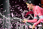 Race leader Simon Yates (GBR) Mitchelton-Scott retains the Maglia Rosa on the podium at the end of Stage 7 of the 2018 Giro d'Italia, a flat stage running 159km from Pizzo to Praia a Mare, Italy. 11th May 2018.<br /> Picture: LaPresse/Marco Alpozzi | Cyclefile<br /> <br /> <br /> All photos usage must carry mandatory copyright credit (&copy; Cyclefile | LaPresse/Marco Alpozzi)