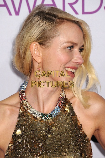 Naomi Watts.People's Choice Awards 2013 - Arrivals held at Nokia Theatre L.A. Live, Los Angeles, California, USA..January 9th, 2013.headshot portrait gold sleeveless sequins sequined collar embellished jewel encrusted halterneck profile .CAP/ADM/BP.©Byron Purvis/AdMedia/Capital Pictures.