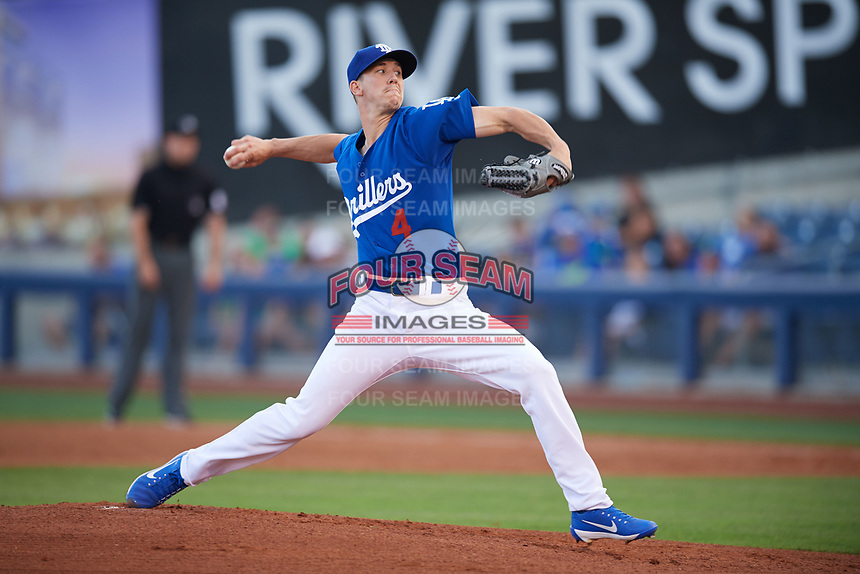 Tulsa Drillers starting pitcher Walker Buehler (4) delivers a pitch during against the Corpus Christi Hooks on June 3, 2017 at ONEOK Field in Tulsa, Oklahoma.  Corpus Christi defeated Tulsa 5-3.  (Mike Janes/Four Seam Images)
