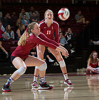 STANFORD, CA - November 3, 2018: Meghan McClure, Kate Formico at Maples Pavilion. No. 1 Stanford Cardinal defeated No. 15 Colorado Buffaloes 3-2.