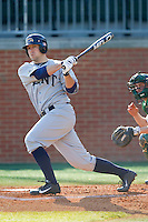 Jason Bagoly (34) of the Kent State Golden Flashes follows through on his swing against the Charlotte 49ers at Robert and Mariam Hayes Stadium on March 8, 2013 in Charlotte, North Carolina.  The 49ers defeated the Golden Flashes 5-4.  (Brian Westerholt/Four Seam Images)