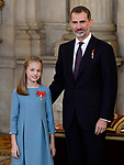Princess Leonor of Spain and King Felipe VI of Spain attend the Order of Golden Fleece (Toison de Oro), ceremony at the Royal Palace. January 30,2018. (ALTERPHOTOS/Pool)