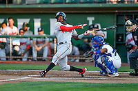 Hector Vargas (19) of the Billings Mustangs at bat against the Ogden Raptors in Pioneer League action at Lindquist Field on August 12, 2016 in Ogden, Utah. Billings defeated Ogden 7-6. (Stephen Smith/Four Seam Images)